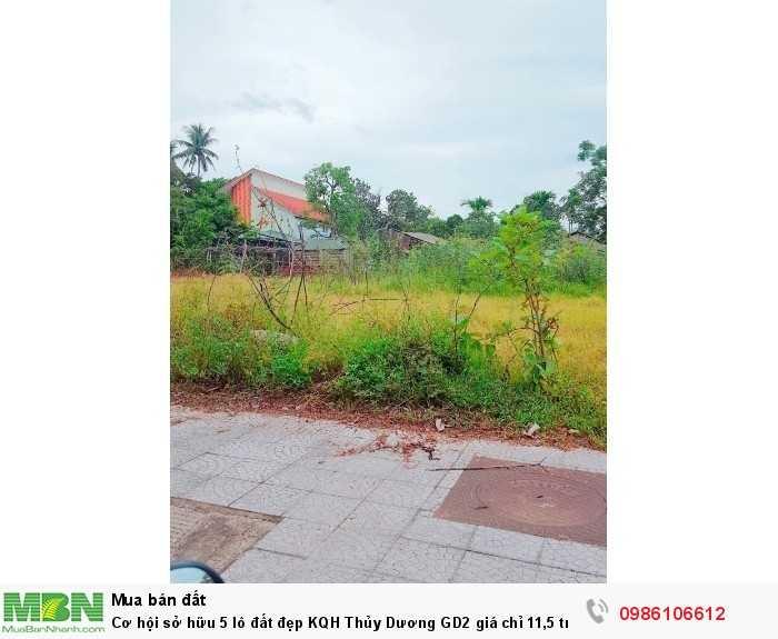 Cơ hội sở hữu 5 lô đất đẹp KQH Thủy Dương GD2 giá chỉ 11,5 tr/m2