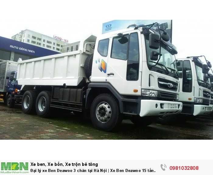 Đại lý xe Ben Deawoo 3 chân tại Hà Nội | Xe Ben Deawoo 15 tấn nhập khẩu tại Hà Nội
