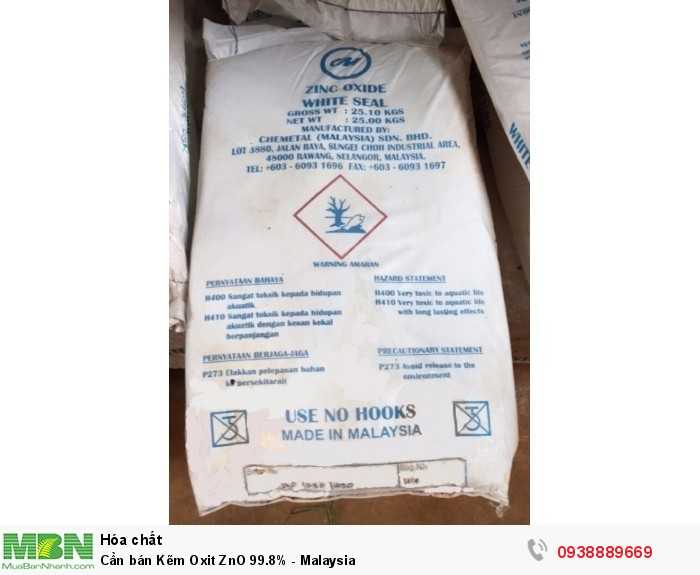 Cần bán Kẽm Oxit ZnO 99.8% - Malaysia0