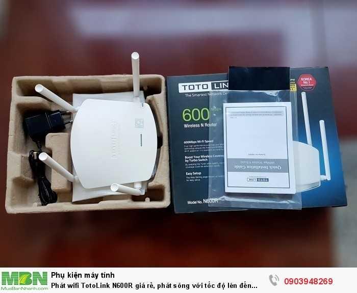 Trọn bộ gồm có: Đầu TotoLink N600R, adapter 9V DC/0.8A, 1 mét dây mạng, hướng dẫn sử dụng tiếng Việt.