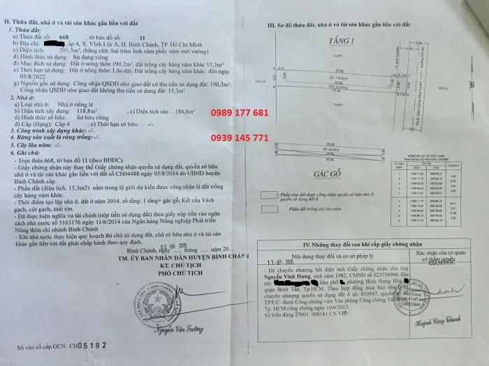 Bán dãy nhà trọ huyện Bình Chánh 5x40, hẻm đg Nữ Dân Công, xã Vĩnh Lộc A.