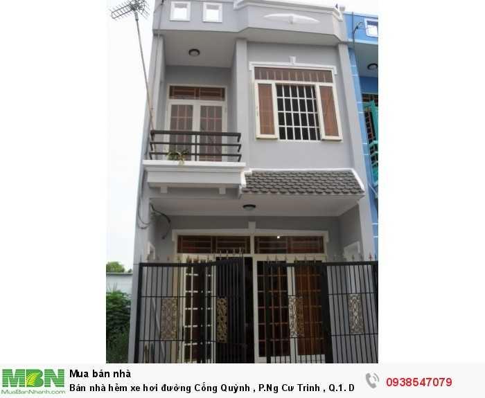 Bán nhà hẻm xe hơi đường Cống Quỳnh , P.Ng Cư Trinh , Q.1. DT 4*20m