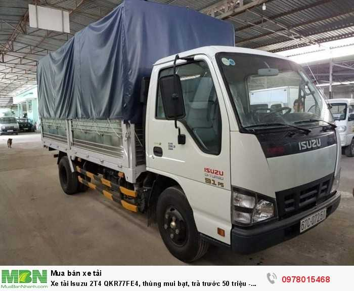 Xe tải Isuzu 2T4 QKR77FE4, thùng mui bạt, trả trước 50 triệu - GIAO XE NGAY