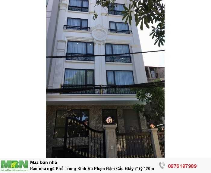 Bán nhà ngõ Phố Trung Kính Vũ Phạm Hàm Cầu Giấy 21tỷ 120m2x8T thang máy