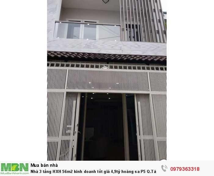 Nhà 3 tầng HXH 56m2 kinh doanh tốt giá 4,9tỷ hoàng sa P5 Q.Tân Bình