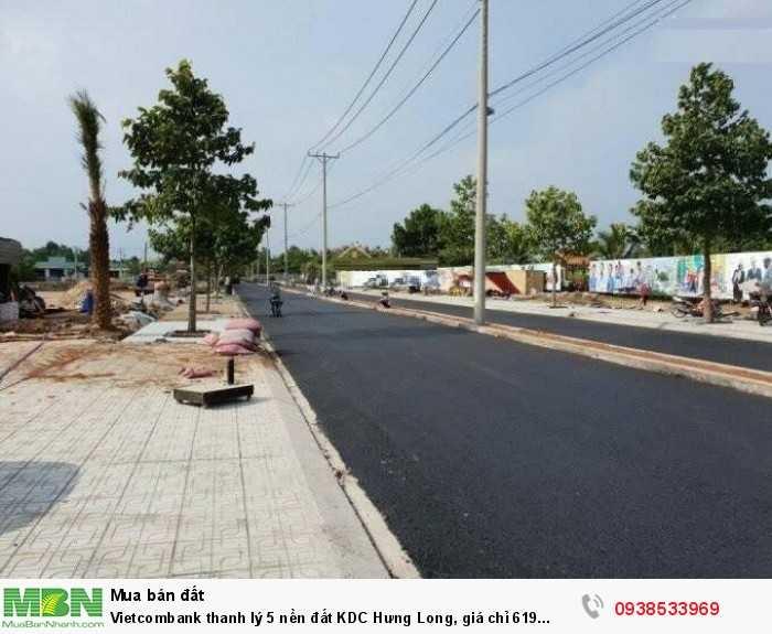 Vietcombank thanh lý 5 nền đất KDC Hưng Long, giá chỉ 619 triệu/nền 100m2
