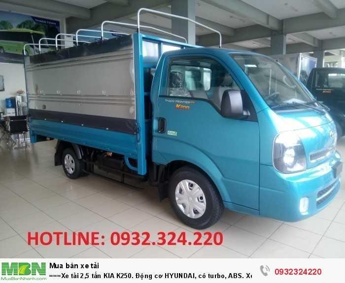 Xe tải 2,5 tấn  KIA K250. Động cơ HYUNDAI, có turbo, ABS. Xe tại Bình Dương