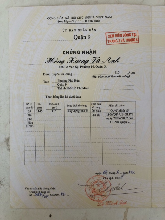 Cần bán lô đất đường Võ Chí Công , Phường Phú Hữu, Quận 9