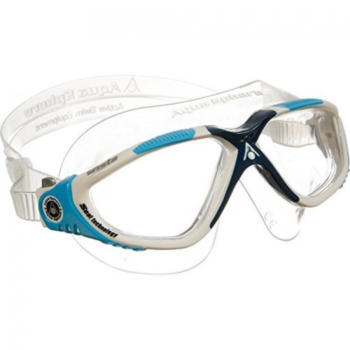 Kính Bơi Mỹ Aquasphere Vista Mắt Rộng - Gọng Trắng/Xanh - Mắt trắng Cầu Đen0
