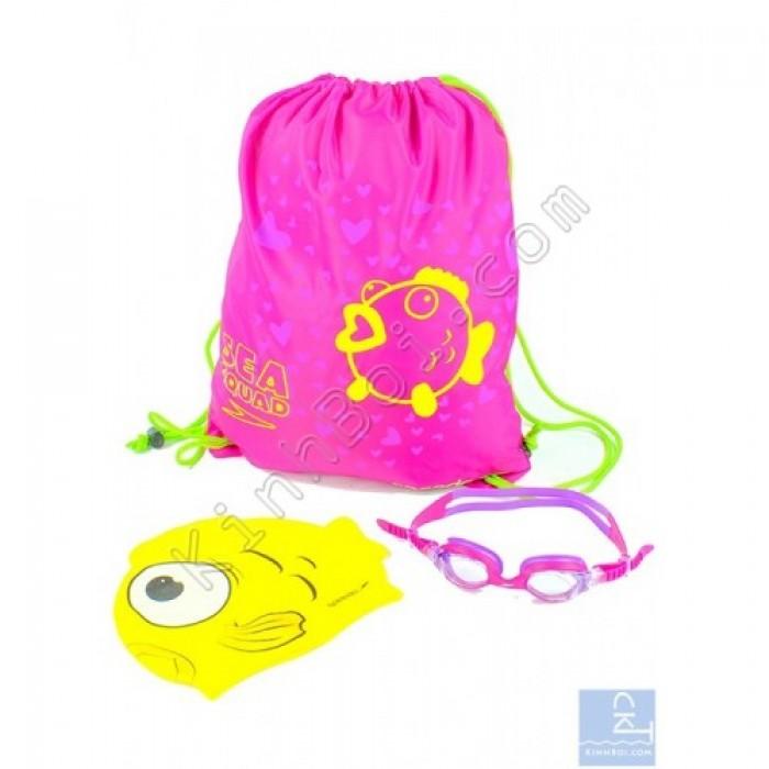 Bộ kính mũ túi Speedo Sea Squad Swim Pack - Hồng0
