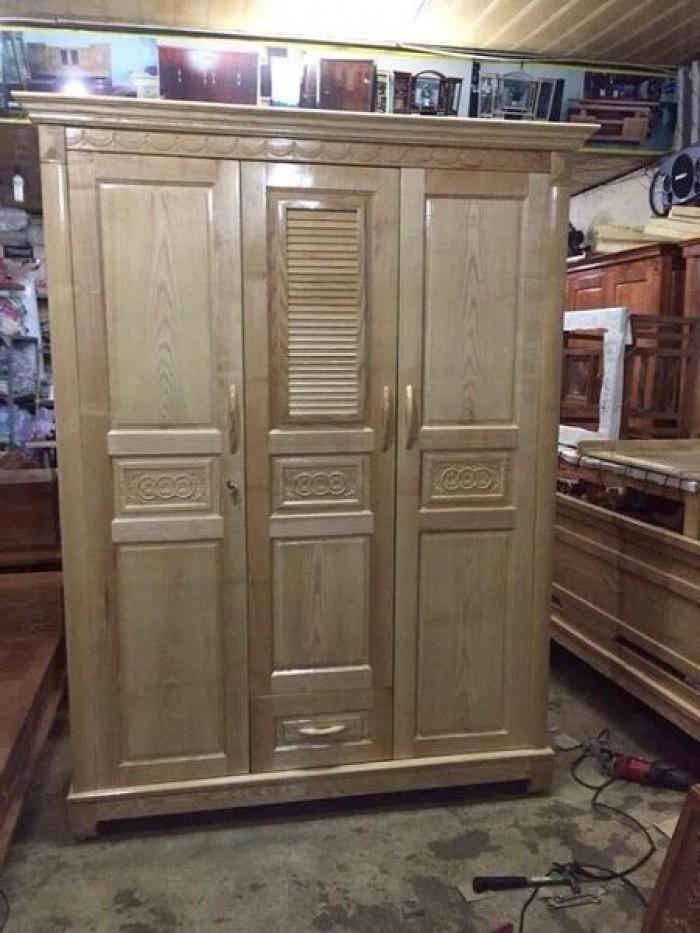 Tủ quần áo bằng gỗ ba buồng gỗ sồi nga  Đồ Gỗ Mạnh Tráng nhận đặt  làm tủ quần áo theo yêu cầu0