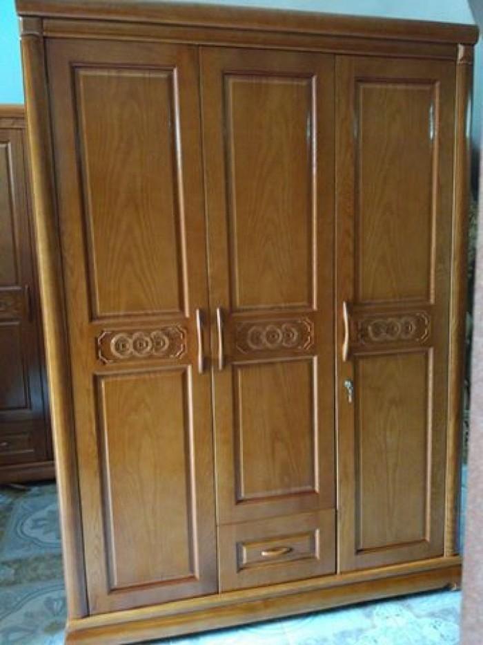 Tủ quần áo bằng gỗ ba buồng gỗ sồi nga  Đồ Gỗ Mạnh Tráng nhận đặt  làm tủ quần áo theo yêu cầu1