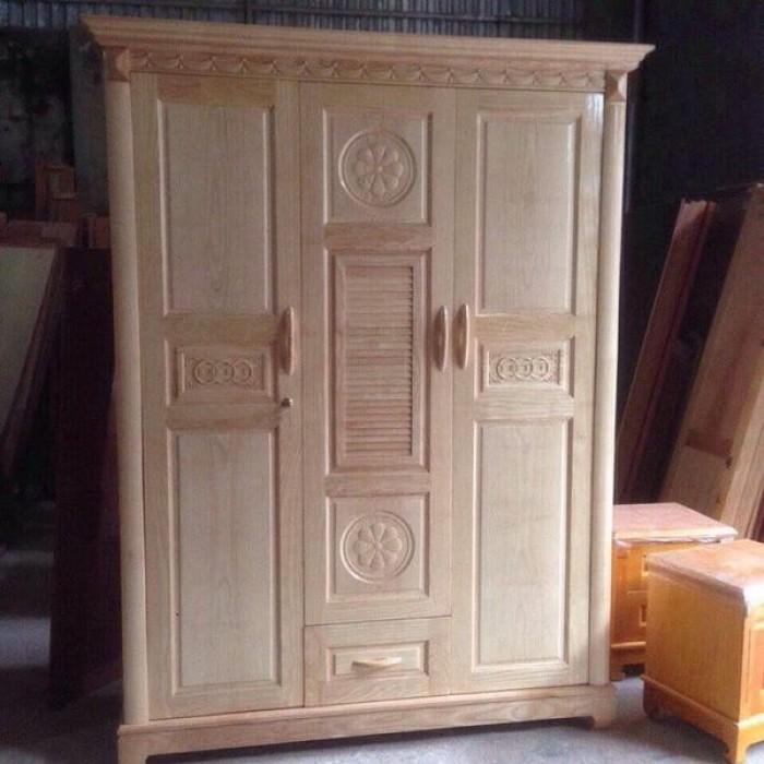 Tủ quần áo bằng gỗ ba buồng gỗ sồi nga  Đồ Gỗ Mạnh Tráng nhận đặt  làm tủ quần áo theo yêu cầu2