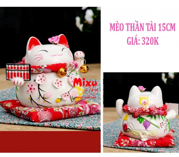 Mèo Thần Tài Kim Đào 15cm May Mắn Tài Lộc16
