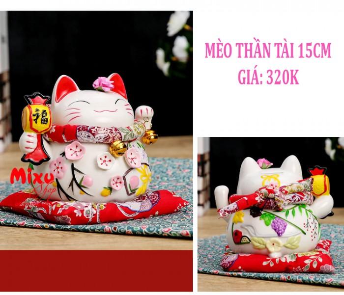 Mèo Thần Tài Kim Đào 15cm May Mắn Tài Lộc9