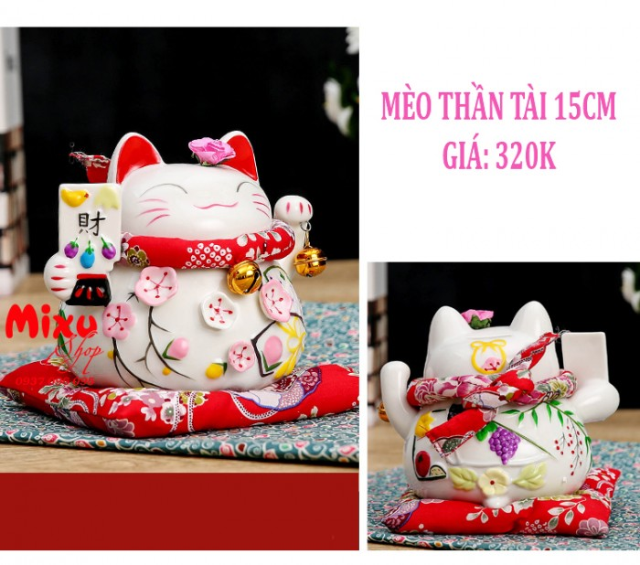 Mèo Thần Tài Kim Đào 15cm May Mắn Tài Lộc15