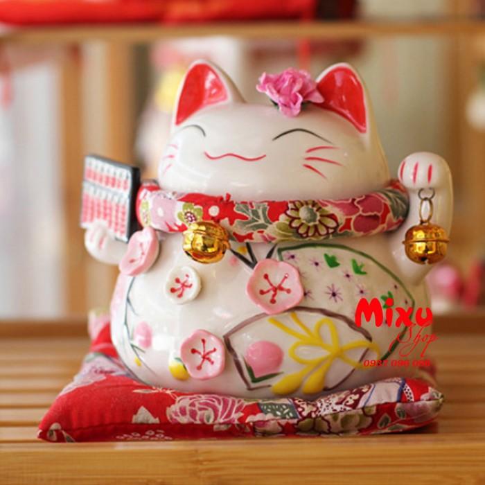 Mèo Thần Tài Kim Đào 15cm May Mắn Tài Lộc0