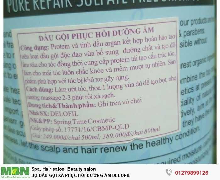 Bộ dầu gội xả phục hồi dưỡng ẩm delofil2