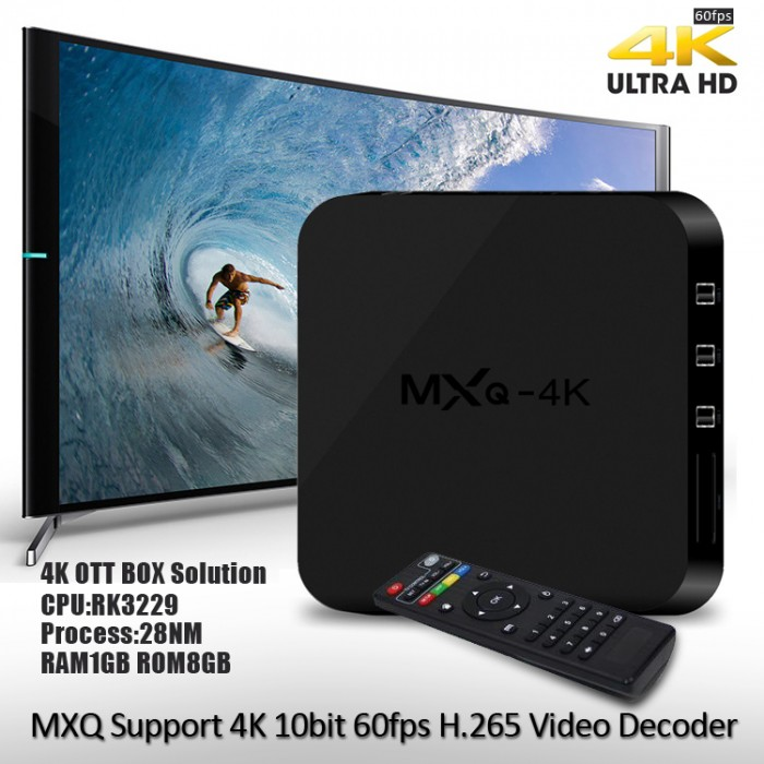 MXQ-4K android 4.4 TV Box Tặng Chuột Bay 1GB RAM 8GB ROM quad core