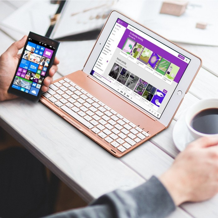 Bàn phím ốp lưng Bluetooth iPad Air iPad 5 tích hợp đèn LED1