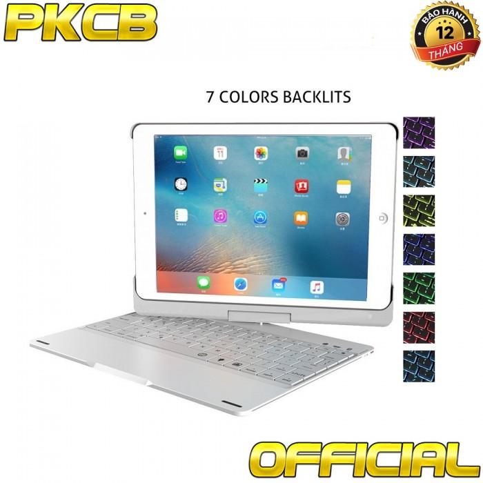 bàn phím bluetooth ipad 9.7 inch iPad wifi 2018, iPad wifi 2017, iPad Air 1, iPad Air 2, iPad pro 9.7 Ốp lưng Xoay 360° Đèn LED PKCB180 keyboard
