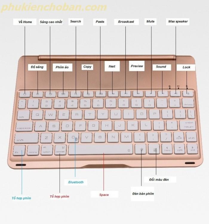 bàn phím Ipad pro 10.5 bluetooth kiêm Ốp lưng f105 tích Hợp đèn LED5