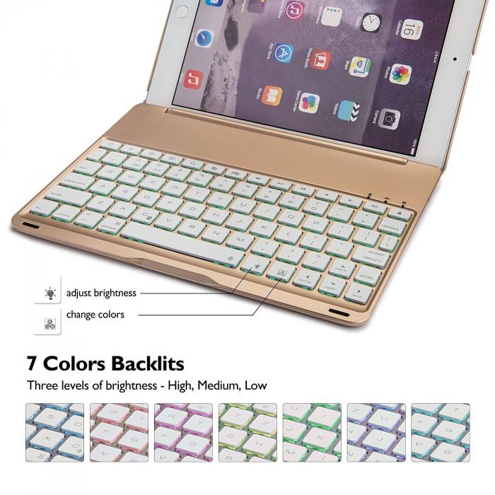 bàn phím Ipad pro 10.5 bluetooth kiêm Ốp lưng f105 tích Hợp đèn LED2