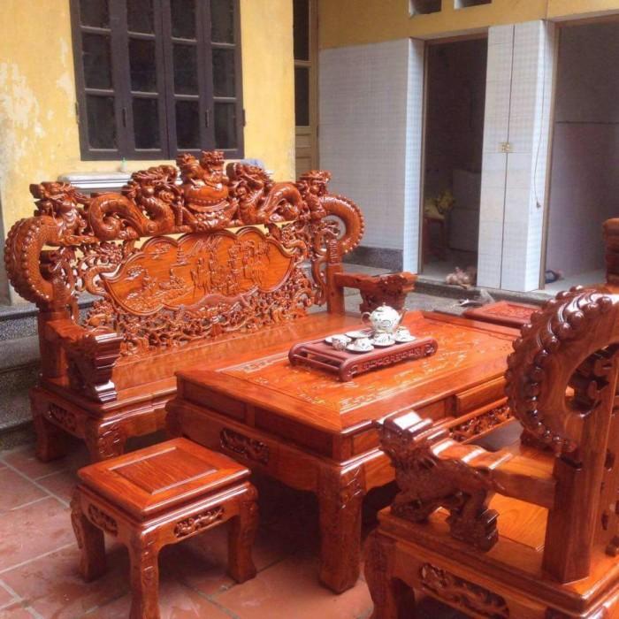 Bàn Ghế Phòng Khách Nghê Đỉnh Tay Khuỳnh Gỗ Hương Đá5