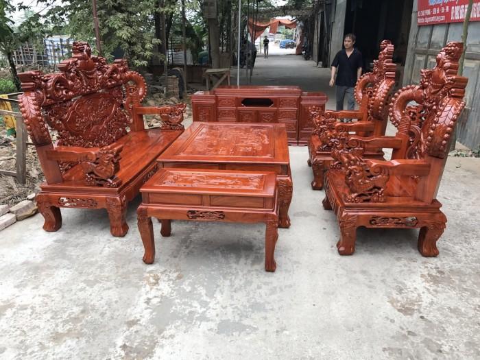 Bàn Ghế Phòng Khách Nghê Đỉnh Tay Khuỳnh Gỗ Hương Đá3