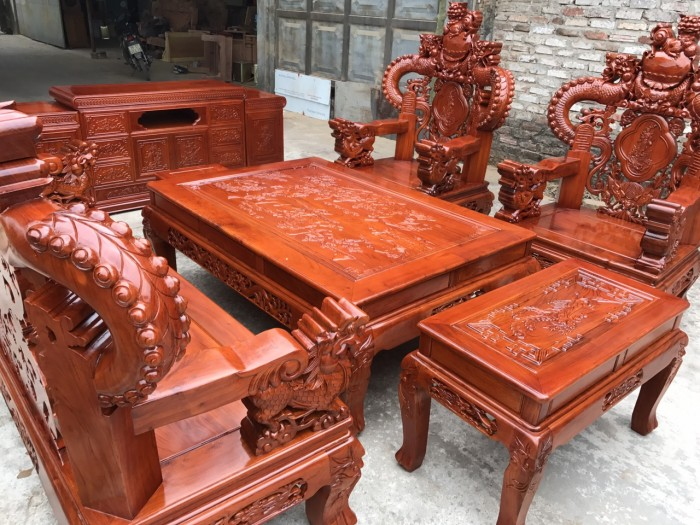 Bàn Ghế Phòng Khách Nghê Đỉnh Tay Khuỳnh Gỗ Hương Đá2