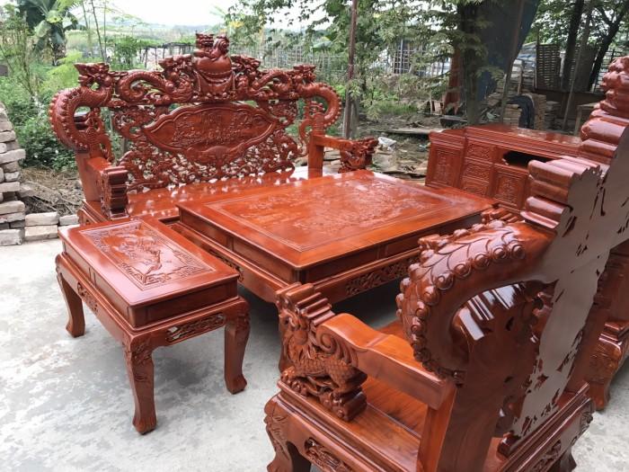 Bàn Ghế Phòng Khách Nghê Đỉnh Tay Khuỳnh Gỗ Hương Đá1