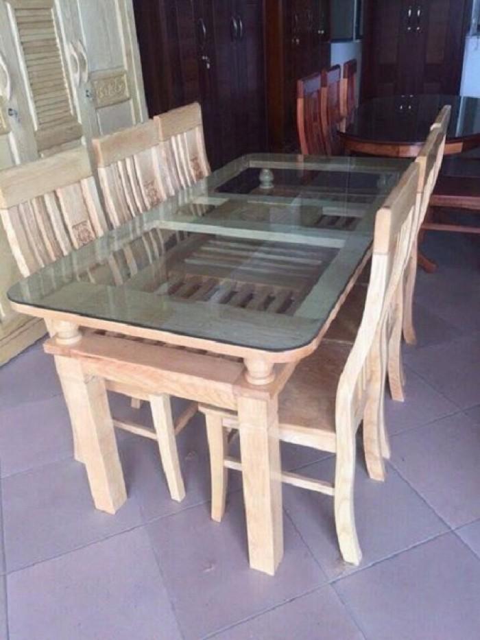 Bộ bàn ghế ăn 2 tầng gỗ sồi nga dogomanhmoc.com0