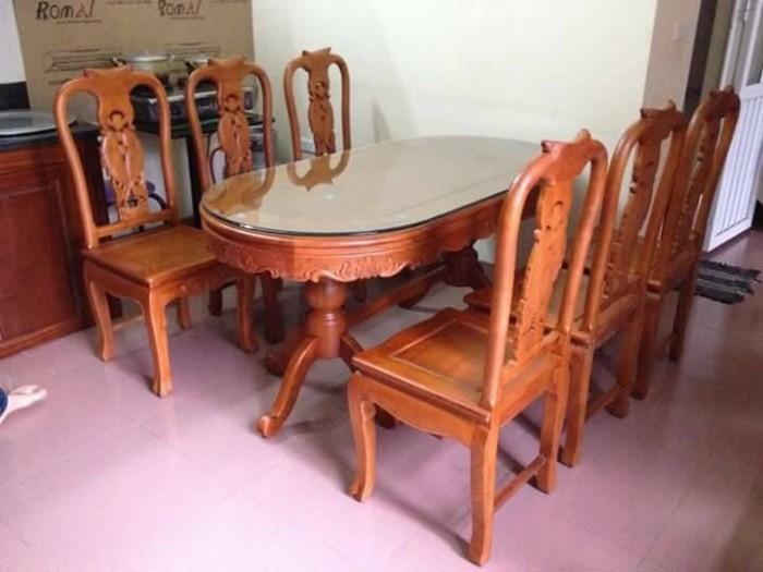 Bộ bàn ghế phòng ăn gỗ hương vân dogomanhmoc.com