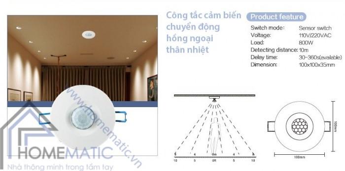 Công tắc cảm biến chuyển động hồng ngoại thân nhiệt âm trần TDL-9959J0