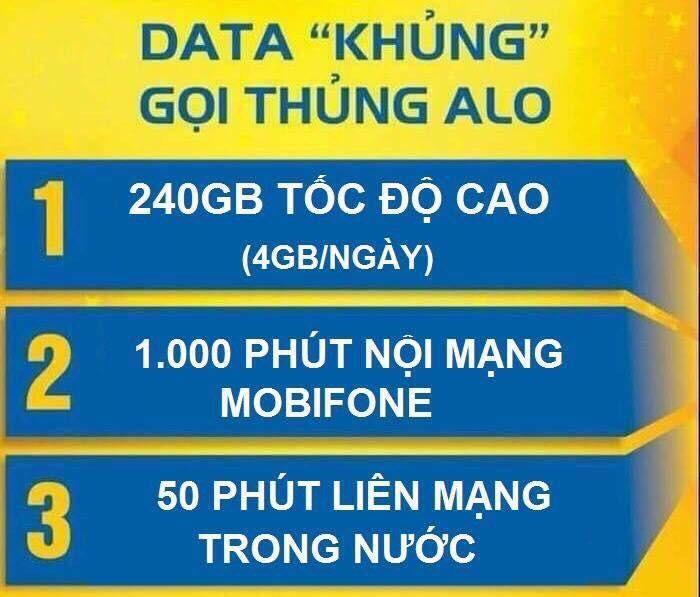 Sim 4G Mobifone có 120GB/tháng - Nghe gọi miễn phí0