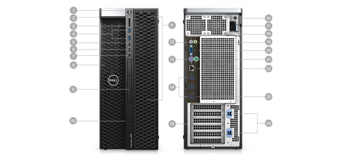 Máy trạm Dell precision 5820 tower W-2104/16g/1Tb/w10 (70154197 - 70154208)3