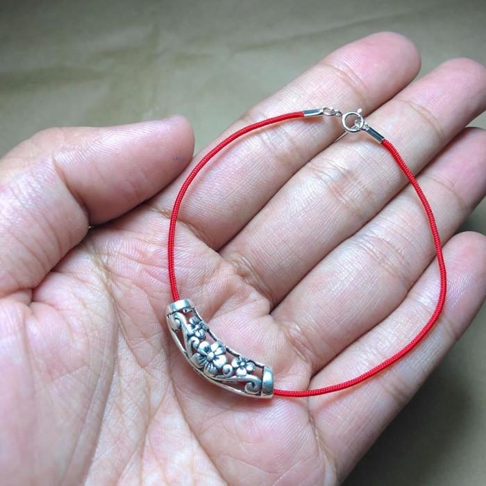 Dây đỏ may mắn Bạc 925, dây chỉ đỏ phong thủy tài lộc Bells House Jewelry TPHCM,