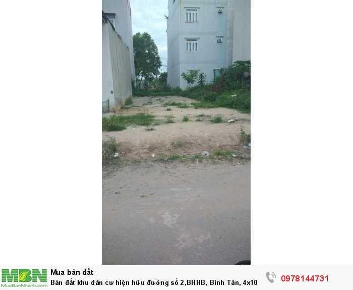 Bán đất khu dân cư hiện hữu đường số 2,BHHB, Bình Tân, 4x10m, 500 triệu