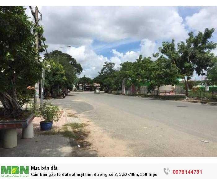 Cần bán gấp lô đất sát mặt tiền đường số 2, 5,62x10m