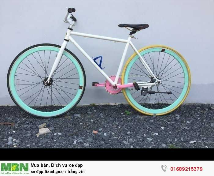 Xe đạp fixed gear / trắng zin
