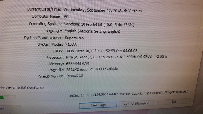 Workstation Dual E5-2690v3 48cpu, 64gb ddr4, ssd240, GTX 1050ti 4GB2
