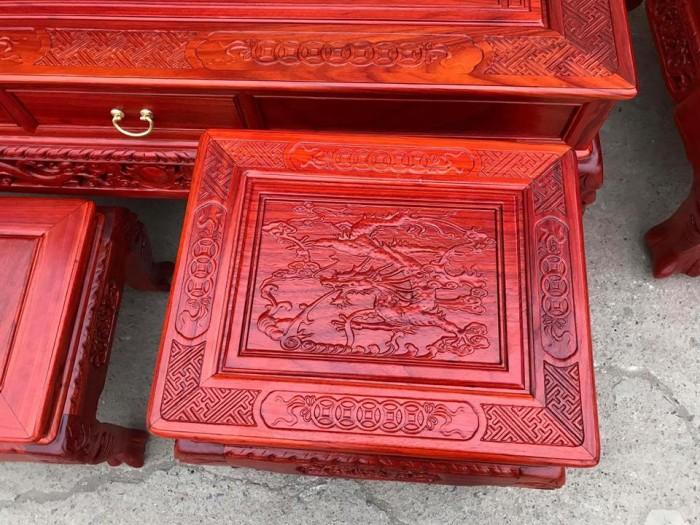 Bộ bàn ghế trạm nghê đỉnh tay khuỳnh gỗ hương đỏ nam phi1