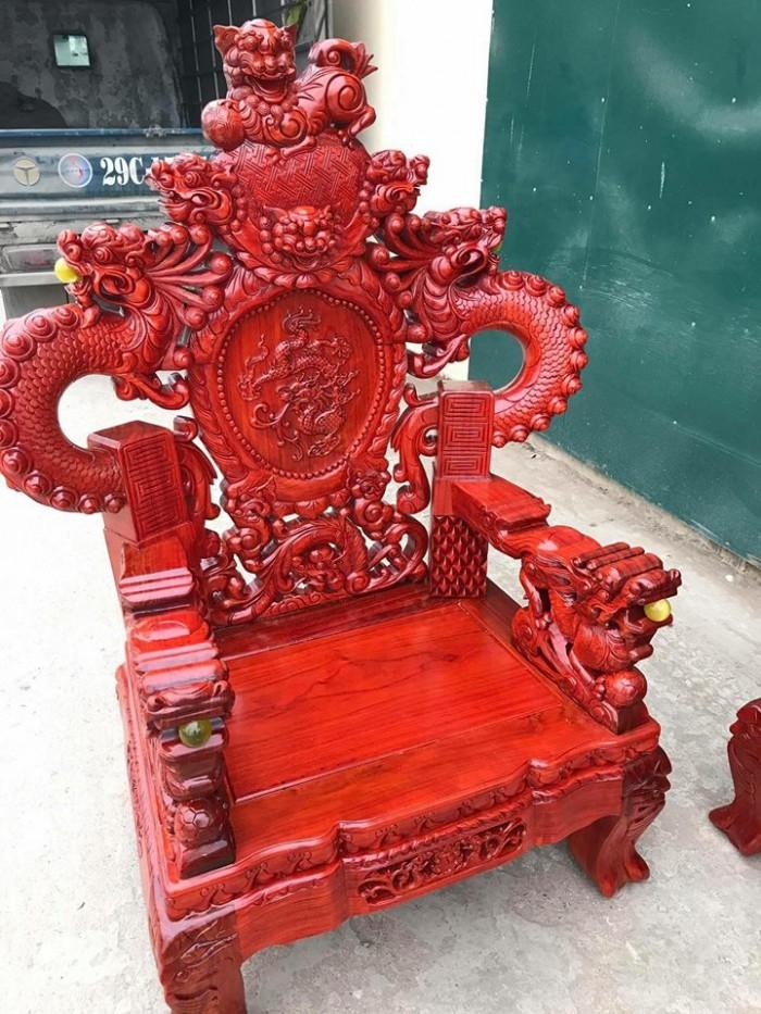Bộ bàn ghế trạm nghê đỉnh tay khuỳnh gỗ hương đỏ nam phi5