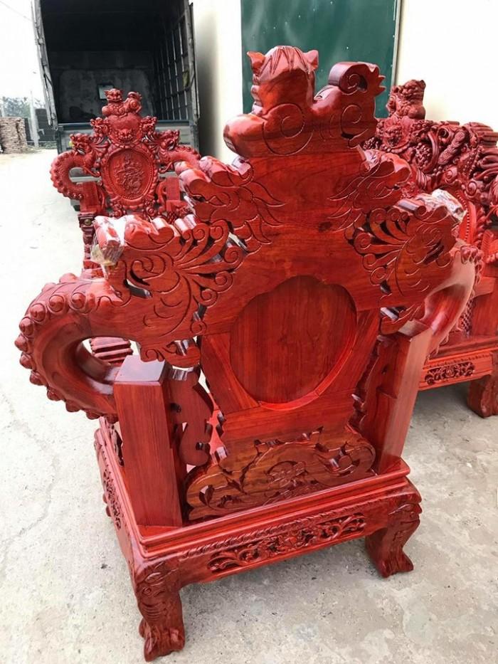 Bộ bàn ghế trạm nghê đỉnh tay khuỳnh gỗ hương đỏ nam phi9