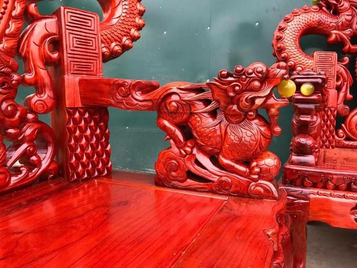 Bộ bàn ghế trạm nghê đỉnh tay khuỳnh gỗ hương đỏ nam phi10