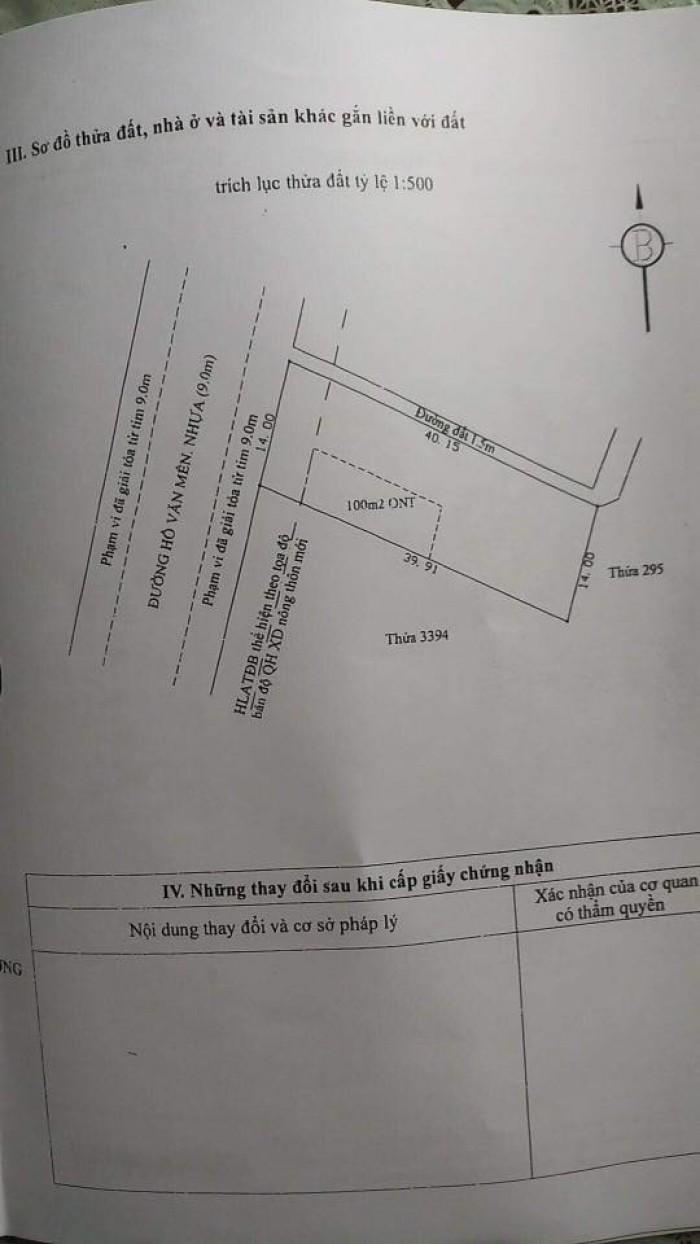 Bán đất 2 mặt tiền đường Hồ Văn Mên, đường nhựa 10m