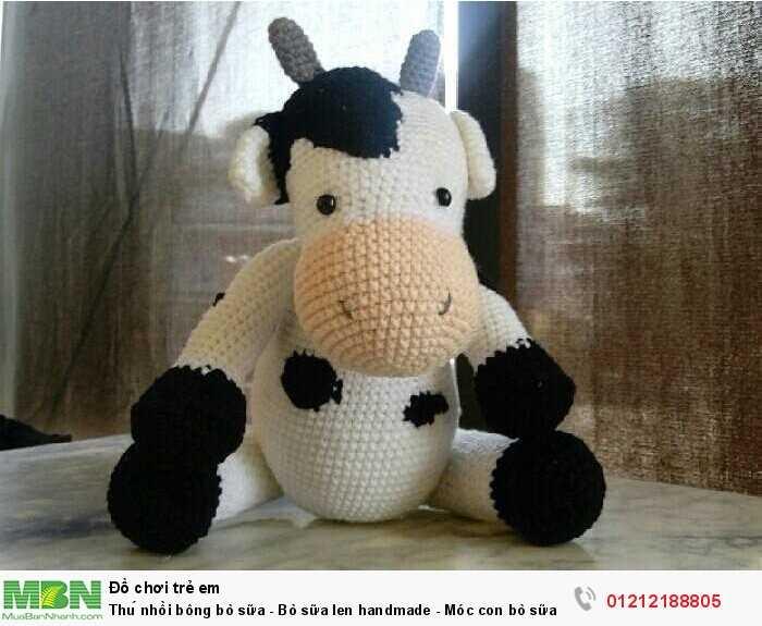 Thú nhồi bông bò sữa - Bò sữa len handmade - Móc con bò sữa bằng len