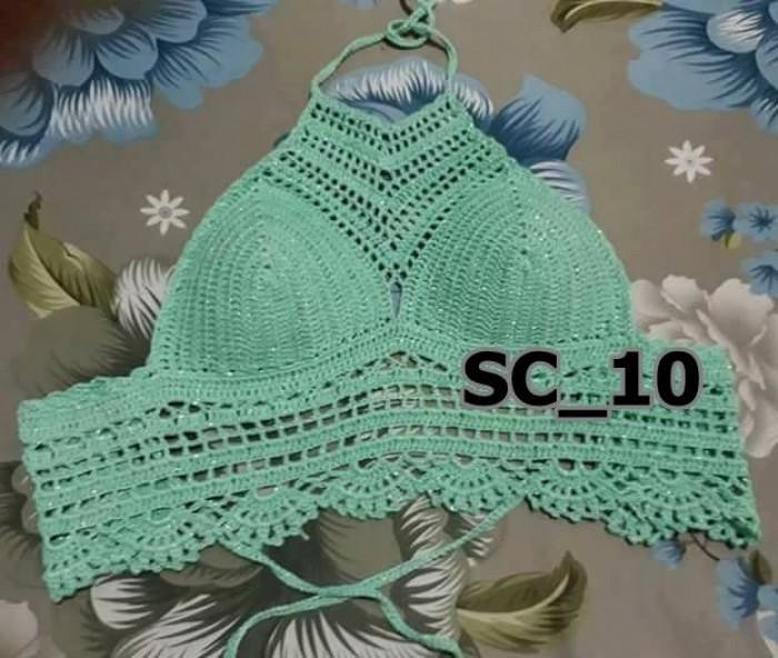 Bikini len xanh - Bikini len màu xanh - Bikini len móc màu xanh - SC_103