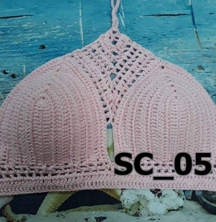 Bikini len cổ yếm - Bikini yếm len móc - Bikini len yếm - SC_050