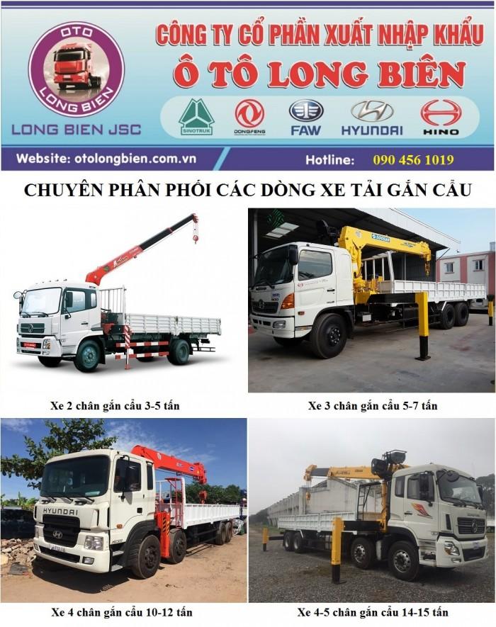 Bán xe 4 chân Dongfeng gắn cẩu tự hành 10T - 12T và nhận đóng cẩu